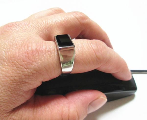 新品 四角形 ブラックストーン ビジネス ステンレス 指輪リング_画像4