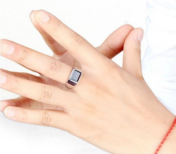 新品 四角形 ブラックストーン ビジネス ステンレス 指輪リング_画像1