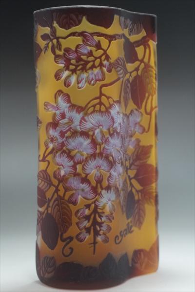 ★ 【証明書】 エミール・ガレ 果実文 花器 花瓶 技法 カメオ彫り 被せガラス  B-3163