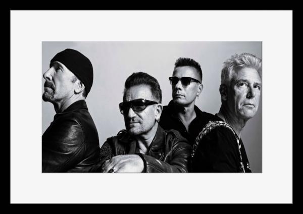 BW:人気ロックバンド!ユートゥー/U2/モノクロ写真フレーム-2