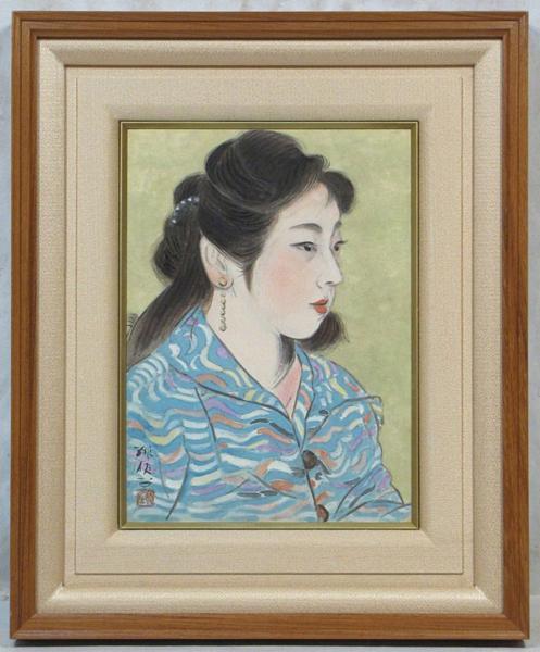 梶原緋佐子 「夏の朝(共シール)」 額装4号 洋装の女性、梶原美人画の逸品です