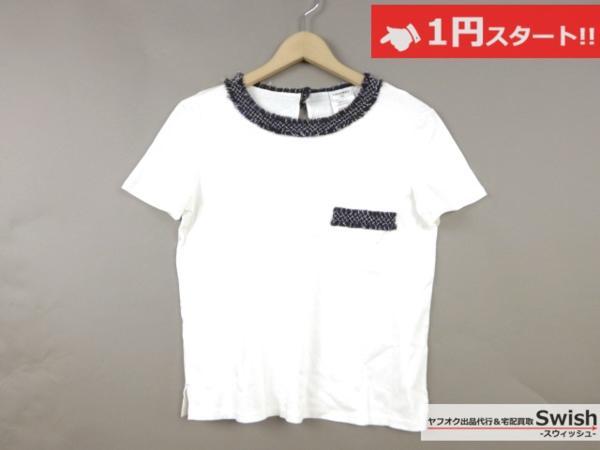 A798●CHANEL シャネル●胸ポケット付き 半袖 カットソー Tシャツ 36 白●