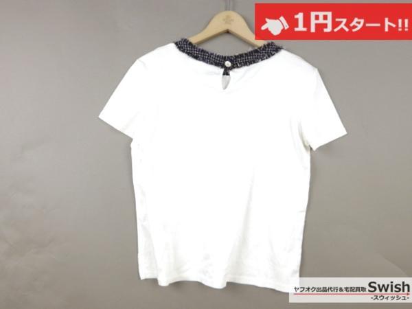 A798●CHANEL シャネル●胸ポケット付き 半袖 カットソー Tシャツ 36 白●_画像5