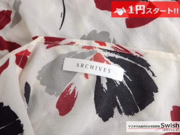 A373●ARCHIVES アルシーヴ●花柄 ワンピース M 白●_画像7