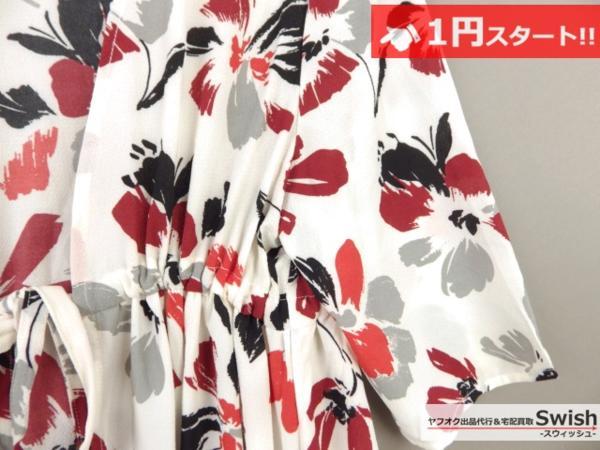 A373●ARCHIVES アルシーヴ●花柄 ワンピース M 白●_画像4