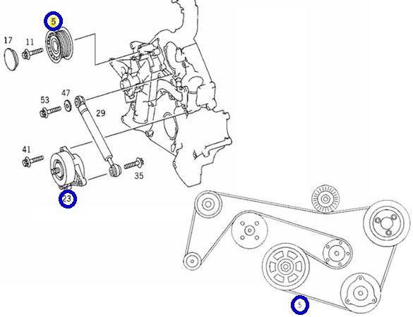 テンショナー + プーリー + ファンベルト/W220 Sクラス 320 S350 S430 W215 CLクラス CL500 (112-200-0970+000-202-0919+011-997-9792)_画像2