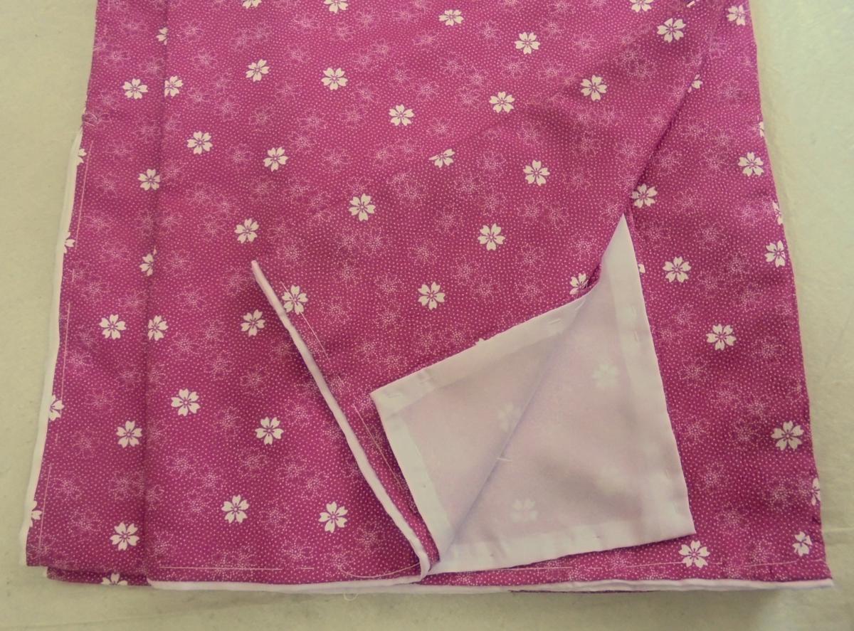 K1977 洗える袷着物 *江戸小紋柄* Lサイズ 「桜・赤紫」-_画像3