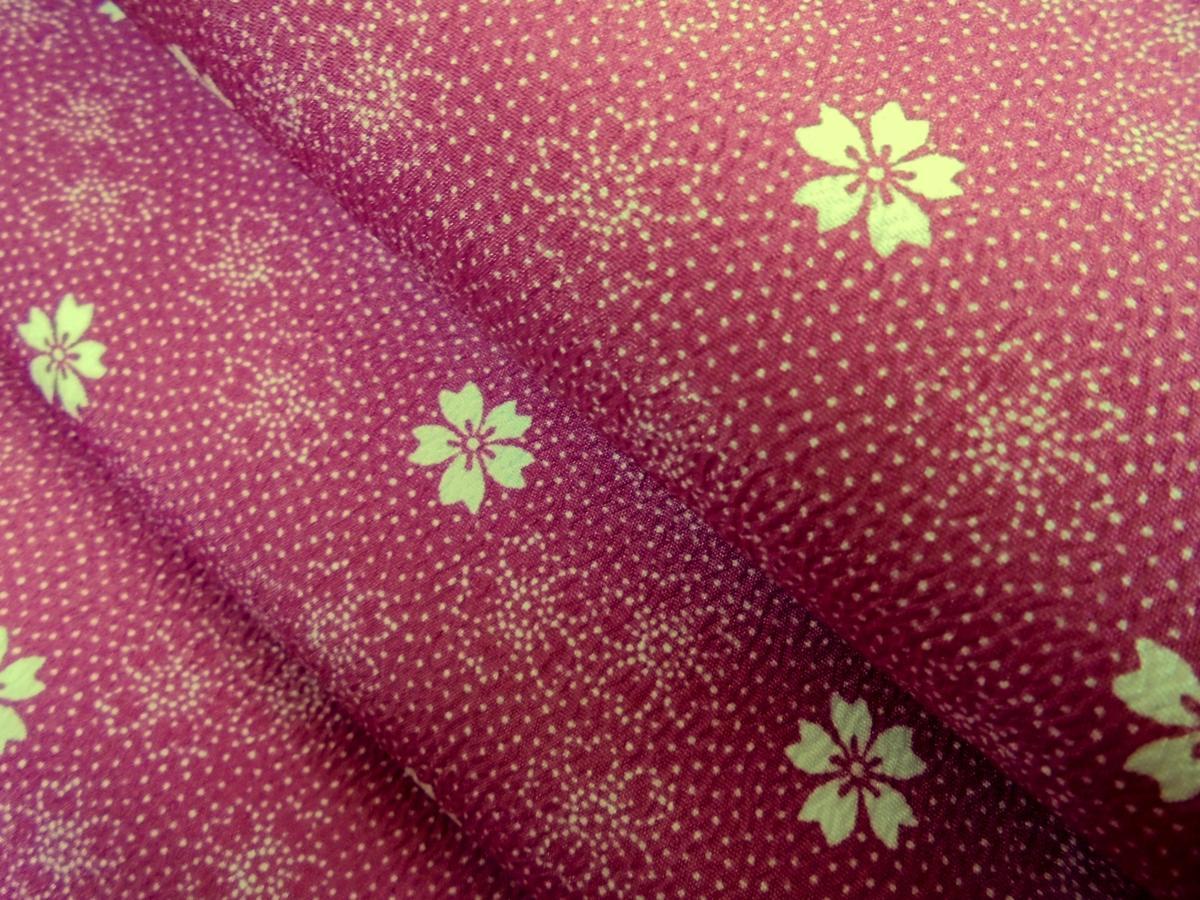 K1977 洗える袷着物 *江戸小紋柄* Lサイズ 「桜・赤紫」-_画像4