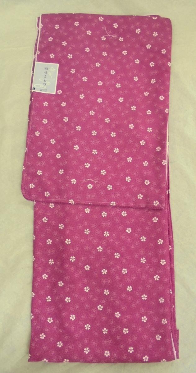 K1977 洗える袷着物 *江戸小紋柄* Lサイズ 「桜・赤紫」-_画像1