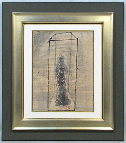 須田剋太 「観音立像」 額装6号 魂を感ずる仏画、剋太の真骨頂です