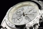 1円 セイコー 海外モデル 逆輸入 ホワイトシルバー 1/20秒 クロノグラフ 腕時計