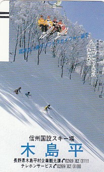 ●110-11136 信州国設スキー場木島平テレカ_画像1