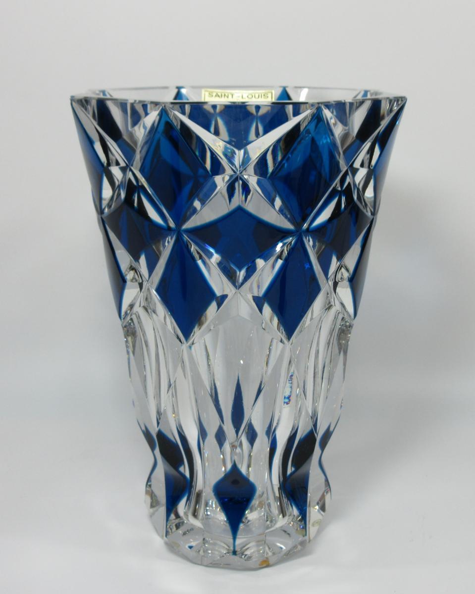 ■サンルイSAINT-LOUIS ブルー 色被せガラス クリスタル花瓶 H25cm Ⓐ74