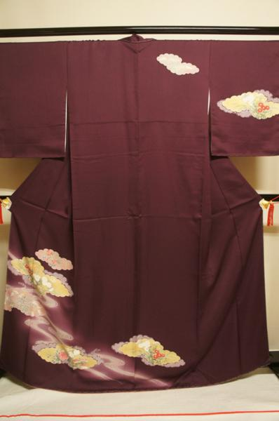 正絹小紫色流水雲取花模様未着用附下しつけ付[H8778]_正絹小紫色流水雲取花模様未着用附下