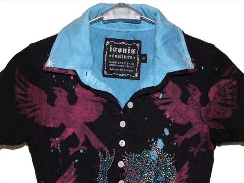 アイコニック ICONIC COUTURE レディース半袖ポロシャツ Sサイズ 新品_画像2