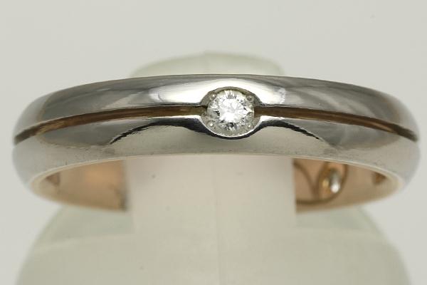K18PG Pt900 ダイヤ リング #10 磨き済み 送料無料 【Y344】 18金 ピンクゴールド プラチナ 指輪_画像1