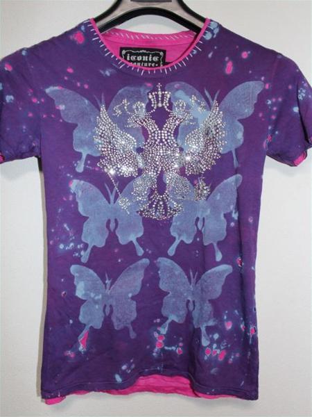 アイコニック Iconic Couture レディース半袖Tシャツ Sサイズ パープル 新品_画像1