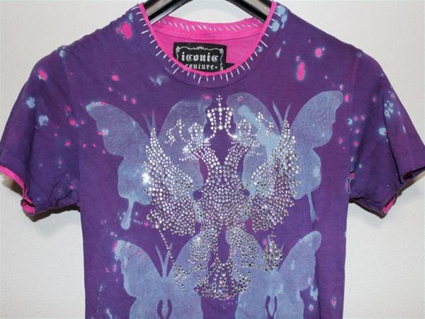 アイコニック Iconic Couture レディース半袖Tシャツ Sサイズ パープル 新品_画像2