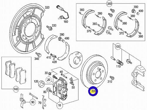 OZ製 リア ブレーキローター(左右)/W215 CLクラス CL500 (220-423-0112)_画像2