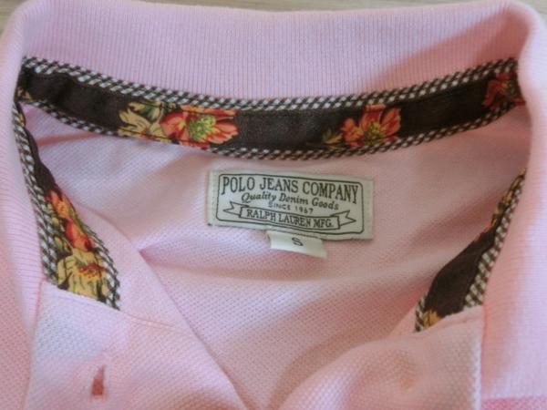 t862 【美品】 ラルフローレン POLO JEANS 半袖ポロシャツ ピンク S 綿100%_画像8