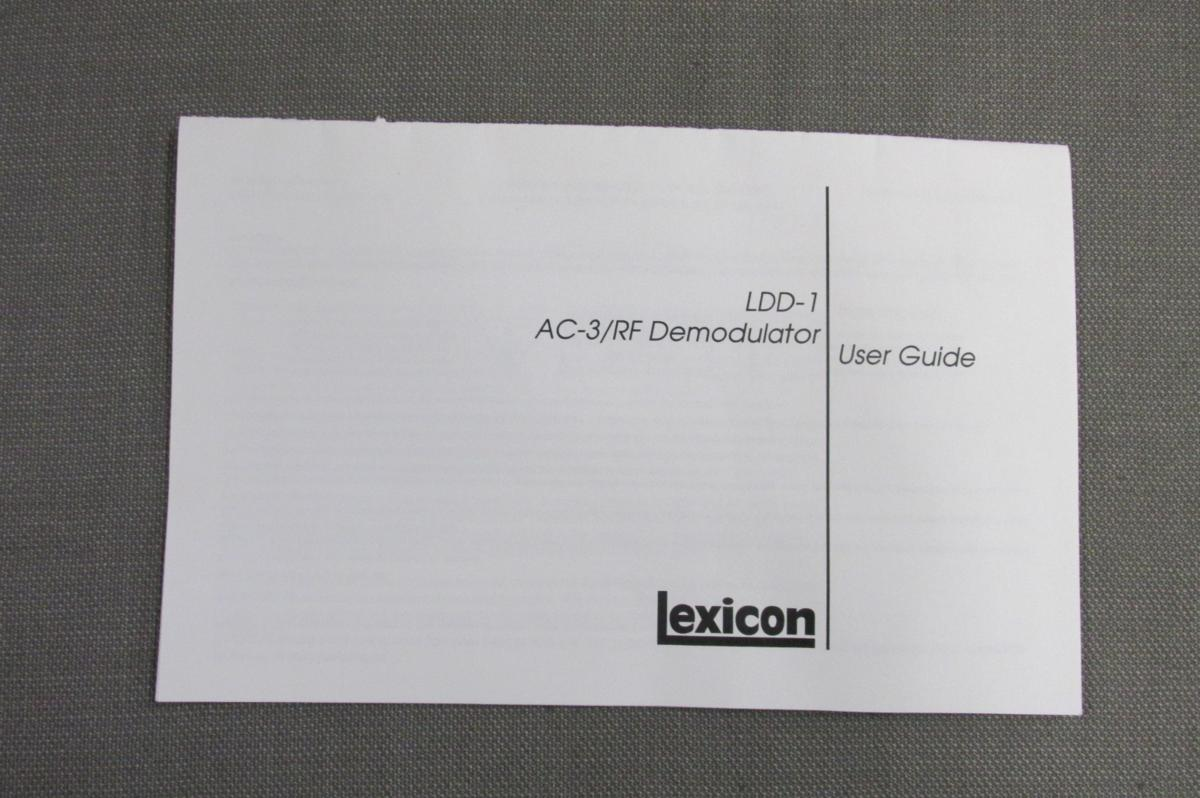 S0061【取扱説明書】Lexicon AC-3/RF Demodulator LDD-1 英文_画像1