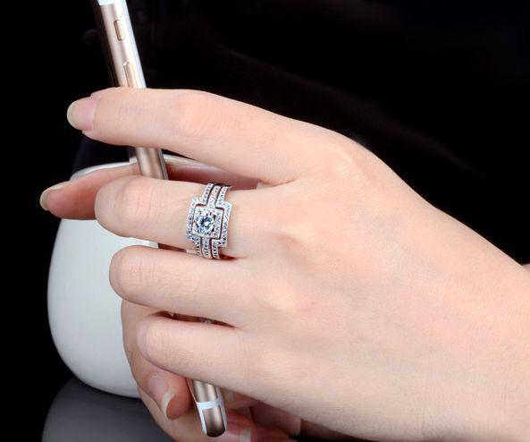 豪華 0.40ct 3本組セット 重ね付け 結婚指輪 パヴェリング_画像9