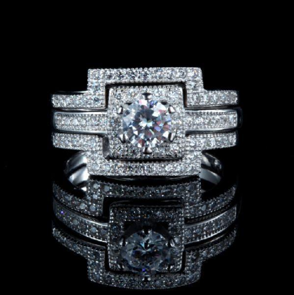 豪華 0.40ct 3本組セット 重ね付け 結婚指輪 パヴェリング_画像1