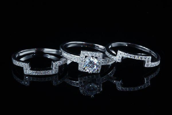 豪華 0.40ct 3本組セット 重ね付け 結婚指輪 パヴェリング_画像3