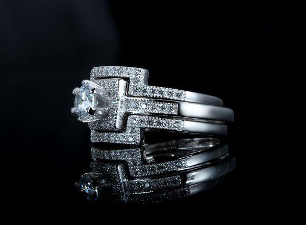 豪華 0.40ct 3本組セット 重ね付け 結婚指輪 パヴェリング_画像2