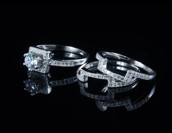 豪華 0.40ct 3本組セット 重ね付け 結婚指輪 パヴェリング_画像4