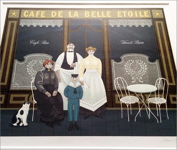 【ジャン・バレー CAFE DE LA BELLE ETOILE 127/300(額装)】検:Jan Baletリトグラフ_画像3