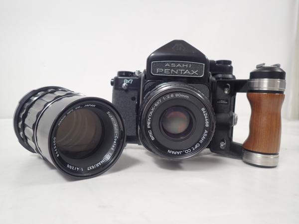 ASAHI PENTAX 中判カメラ 6X7/SMC PENTAX-6×7 90mm F2.8/TAKUMAR 6×7 200mm F4/木製グリップ付 ⇔ 4DC2A-1