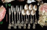 835 SILVER 純銀無垢 ヒルデスハイムローズ アンティーク シルバー 薔薇 カトラリー 12本 168グラム 検) スターリングシルバー