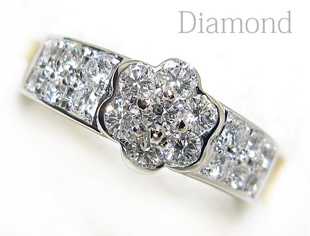 【銀トレ】計0.871ct天然ダイヤモンド/Pt900/フラワー/ストレートリング_硬質なダイヤの輝きがお手元を飾ります♪
