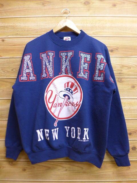 XL★古着 中古 スウェット 90年代 MLB ニューヨークヤンキース 紺 17apr26 グッズの画像