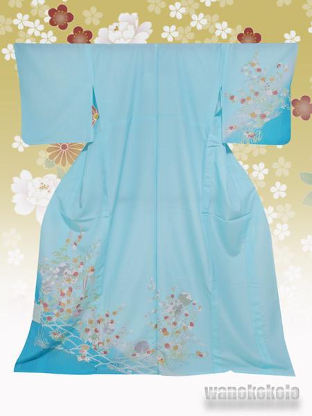 【和の志】洗える着物◇付下・単衣◇水色系・草花柄◇265_画像1