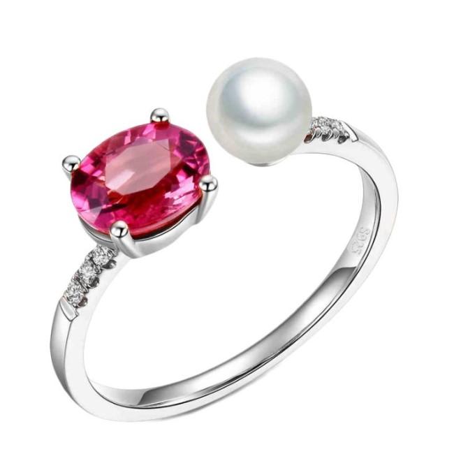 新品 フリーサイズ 7月誕生石 淡水真珠 キュービックジルコニア 指輪 リング _画像1