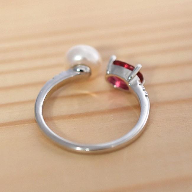 新品 フリーサイズ 7月誕生石 淡水真珠 キュービックジルコニア 指輪 リング _画像4