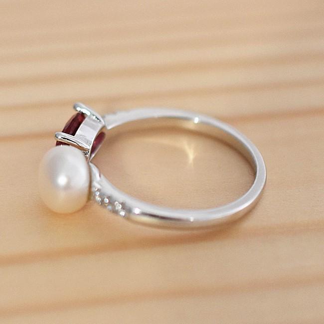 新品 フリーサイズ 7月誕生石 淡水真珠 キュービックジルコニア 指輪 リング _画像5