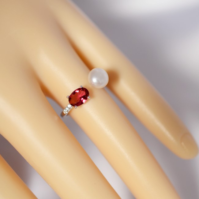 新品 フリーサイズ 7月誕生石 淡水真珠 キュービックジルコニア 指輪 リング _画像7