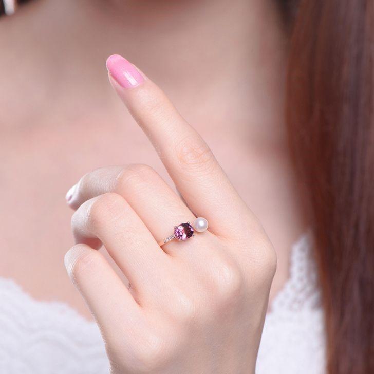 新品 フリーサイズ 7月誕生石 淡水真珠 キュービックジルコニア 指輪 リング _画像3