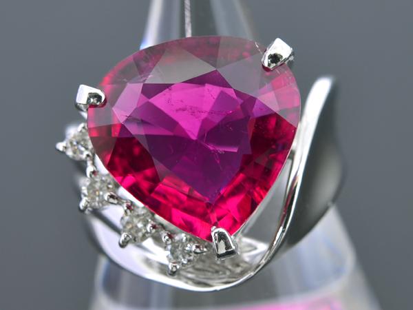 A120【BSJJ】Pt900 天然レッドトルマリン5.80ct ダイヤモンド0.13ct リング 宝石鑑別書 中央宝石研究所_画像1