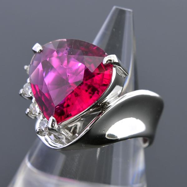 A120【BSJJ】Pt900 天然レッドトルマリン5.80ct ダイヤモンド0.13ct リング 宝石鑑別書 中央宝石研究所_画像2