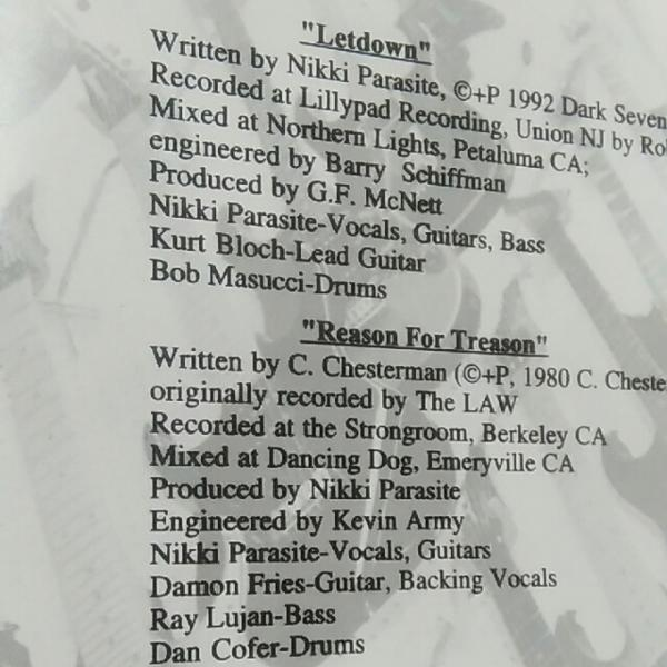 PARASITES/LETDOWN REASON FOR TREASON EP パラサイツ fastbacks_画像2