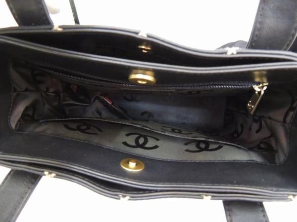 美品 シャネル■ワイルドステッチ トートバッグ レザー ブラック 黒∞レディース ハンドバッグ CHANEL 29F_画像3
