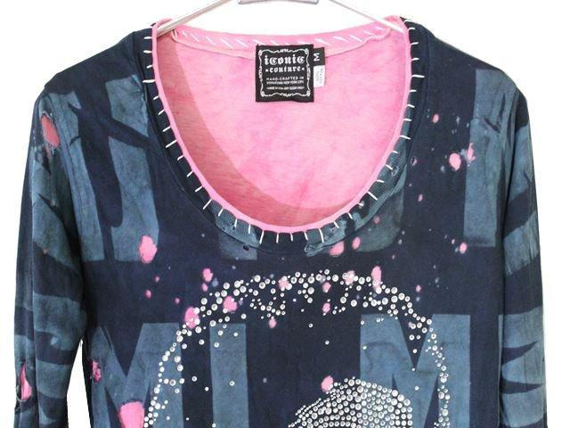 アイコニック ICONIC レディース長袖Tシャツ マイケルジャクソン グリーン Mサイズ Michael Jackson 新品_画像2