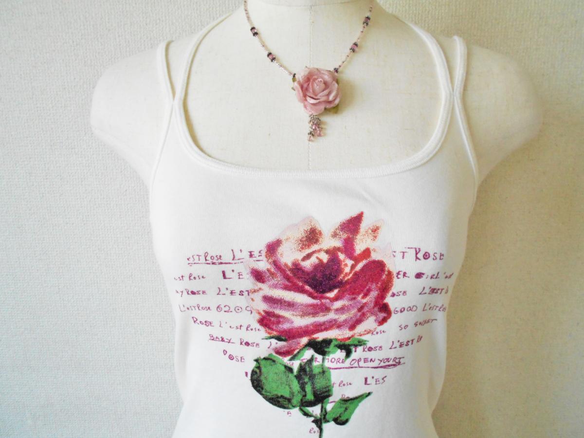 レストローズ LEST ROSE 裾 レース の 可愛い お花 プリント キャミソール M_画像2