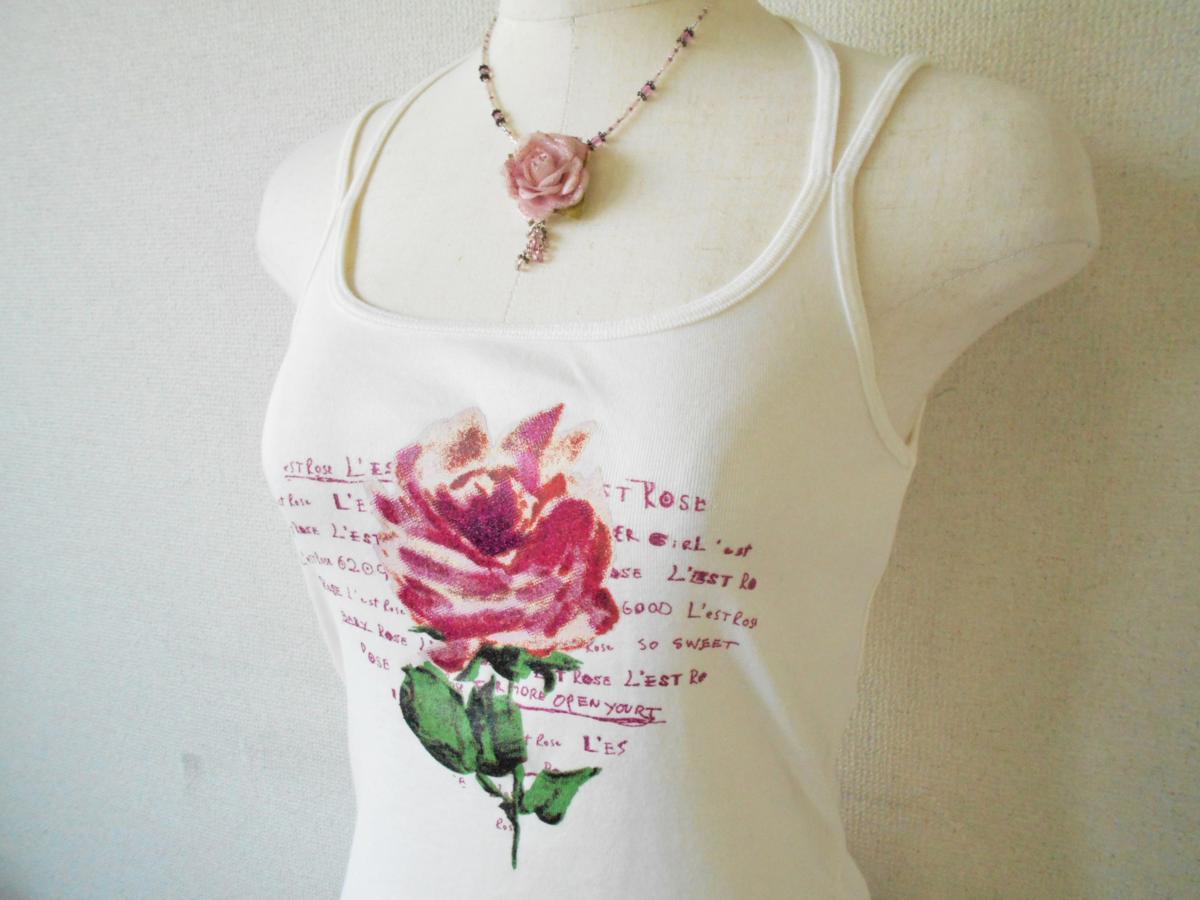 レストローズ LEST ROSE 裾 レース の 可愛い お花 プリント キャミソール M_画像3