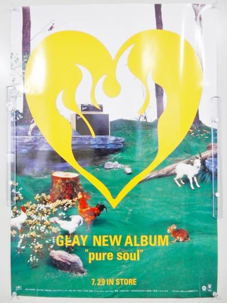 F806◆GLAY グレイ 告知ポスター '98 pure soul ALBUM/B2サイズ/TERU TAKURO HISASHI JIRO◆