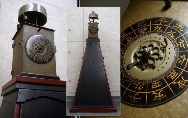 ∇花∇江戸時代 二挺天符銅側時打付櫓時計(大名時計